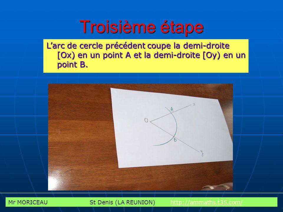 Troisième étape L'arc de cercle précédent coupe la demi-droite [Ox) en un point A et la demi-droite [Oy) en un point B.